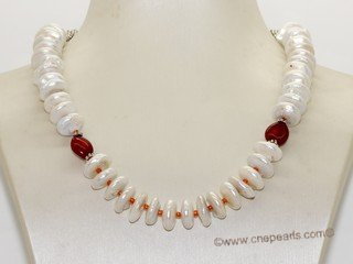 pn749 Freshwater coin pearl and  coral bead mesh tube style necklace