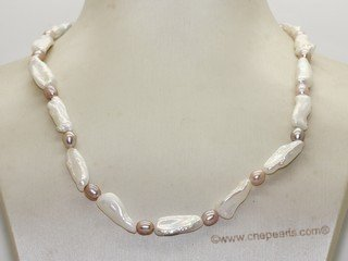pn751 Lovely White Biwa Pearl  Princess Necklace