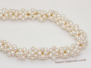 pn753 Designer White Freshwater Potato Pearl Woven Twist Necklace