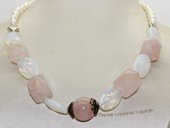 pn755  Hand Strung Freshwater Pearl and Gemstone Princess Necklace