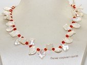 pn756 Charming 10-13mm pink keishi  pearl necklace with red crystal beads