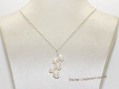 pn759 Fashion freshwater pearl  sterling silver chain necklace