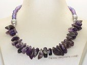 pn761 Multi-Color Freshwater Pearl & Amethyst Beads Necklace