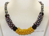 pn762  Black Freshwater Potato Pearl and Gemstone Necklace