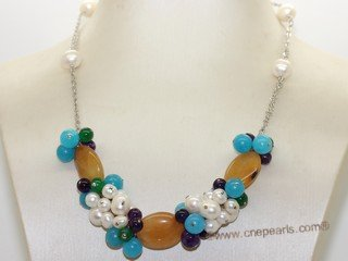 pn763  Hand wired white color freshwater pearl  chain necklace