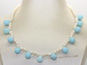 pn764 Single Strand White Color FreshWater Pearl & Blue Crystal Necklace