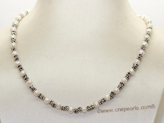 pn766  Designer 4-5mm Potato Pearl& Silver Tone Fitting Princess Necklace