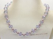 pn767 Eye-catching Purple crystal bead  and  freshwater pearl necklace