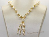 pn769   White Freshwater Potato Pearl Necklace with Gold Tone Beads