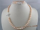 PNSET002 Pink freshwater potato pearl mother&#39s necklace& bracelet set