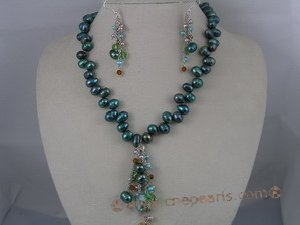 PNSET005 7-8mm blue top-dirlled pearl necklace& dangle earring s