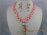 PNSET007 7-8mm pink top-dirlled pearl necklace& dangle earring s