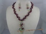PNSET010 7-8mm wine red top-dirlled pearl necklace & earrings se