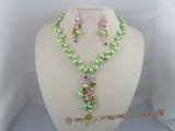 PNSET012 7-8mm green top-dirlled pearl necklace & earrings set