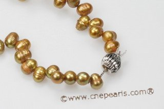 PNSET013 7-8mm olive green top-dirlled pearl necklace set