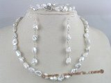 PNSET014 8*11mm white long-dirlled keshi pearl necklace,bracelet