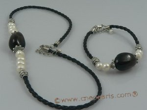 PNSET015 7-8mm white potato pearl and smoky quartz necklace,brac