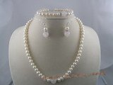 pnset023 white button shape cultured pearl necklace&bracelet sets with rose quartz beads