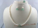 pnset024 white button shape cultured pearl necklace&bracelet sets with chinese jade beads