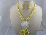 pnset027 6-7mm yellow firecracker cultured freshwater pearl necklace earrings sets