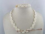 pnset044 Hand-knotted 5-6mm white rice pearl bridal necklace & bracelet set