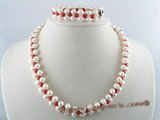 pnset046 handcrafted 7-8mm white potato pearl necklace bracelet set
