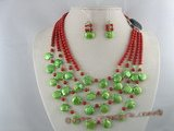 pnset051 four strands 5mm red round coral beads necklace and earrings sets with green coin pearl