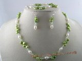 pnset072 green keshi pearl neckace bracelets and earrings set with rice pearl