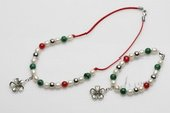 pnset073 7-8mm rice pearls alternater with gemstone necklace and bracelet set