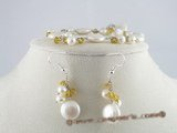 pnset080 white coin pearl& crystal bracelet earrings set