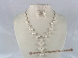 pnset085 7-8mm white potato pearls Y style necklace earrings set