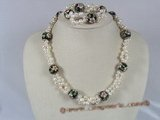 pnset087 white potato pearl with cloisonne beads necklace set with stretchy bracelet
