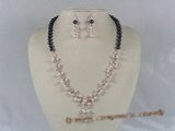 pnset088 stylish potato pearl with crystal beads bridal jewelry set