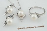 pnset095 925 silver & cultured bread pearl jewelry set wholesale