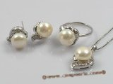 pnset100 sterling cultured pearl pendant earring and rings set with sterling mountting