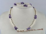 pnset102  wholesale white potato pearl &amethyst beads necklace bracelet set