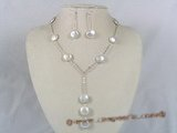 pnset103 wholesale silver white coin pearl Y style Necklace & earrings jewelry Set