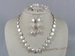 pnset109 Genuine 12mm Coin Pearl Necklace bracelets& earrings Sets