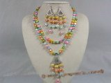 pnset115 two strands multi colour nugget pearl necklace earrings set--summer collection