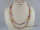 pnset116 5-6mm multi color rice fresh water pearls long necklace earrings set