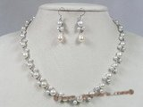 pnset119 Fanshion bread pearl with sterling silver tray necklace earrings set