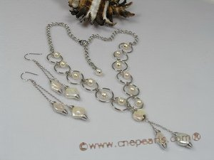 pnset121  Fanshion white potato pearl sterling silver Y style necklace ring set