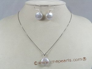 pnset122 12-13mm white coin pearl peandant necklace earrings set
