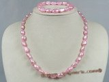 pnset129 8-9mm pink color nugget pearl necklace jewelry set