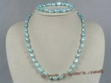 pnset132 8-9mm blue nugget pearl single necklace jewelry set