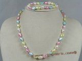 pnset133 Multi-color 8-9mm nugget pearl single necklace set