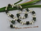 pnset143 Green coin pearl &white biwa pearl neckalce jewelry set