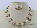 pnset145 7*20mm coffee biwa pearl and crystal beads necklace earrings set