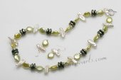 pnset148 Olive Green coin pearl &white biwa pearl neckalce earrings jewelry