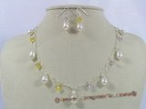 Pnset152 Exquisite Austria crystal with pearl necklace& 